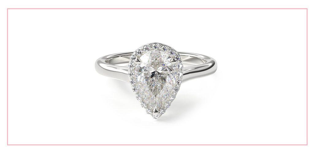 14K White Gold Pave Halo Diamond Engagement Ring (Pear Center)