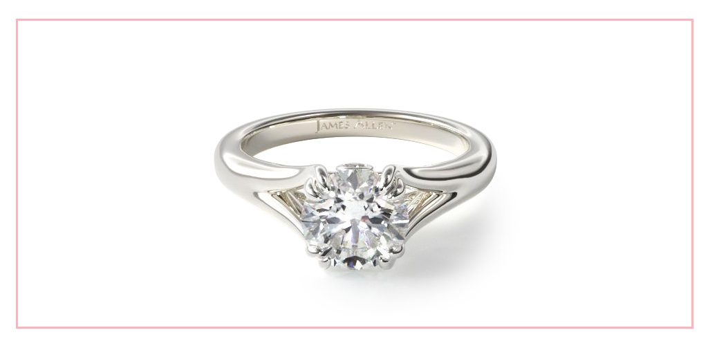 14K White Gold Split Shank Double Claw Solitaire Engagement Ring