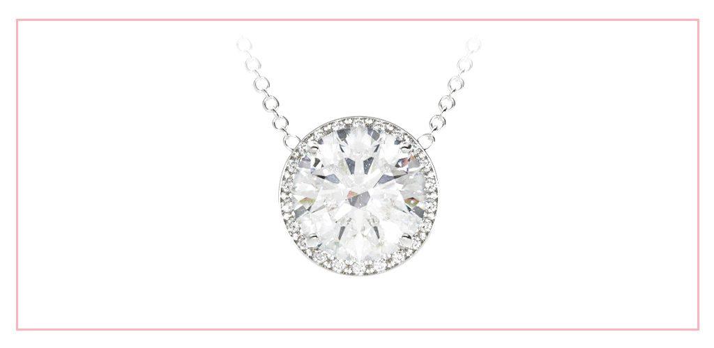 Milgrain halo diamond pendant set with a round lab-created diamond
