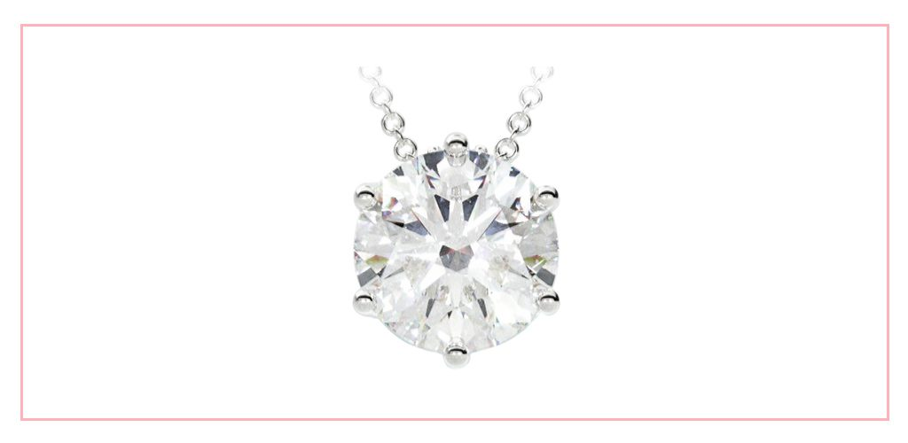 Round six-prong diamond pendant set with a round lab-created diamond