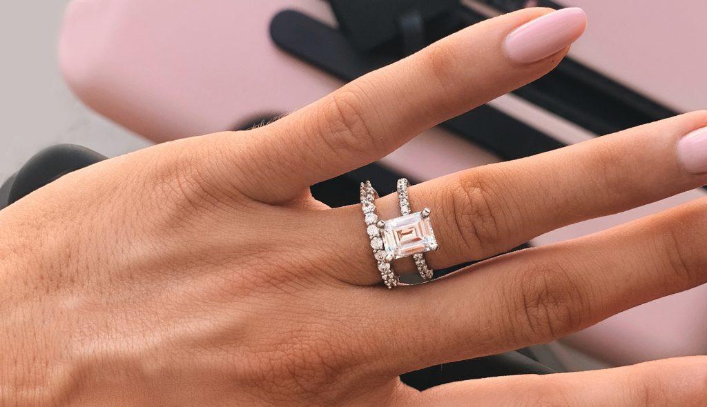 Emerald-Cut Diamond Pavé Engagement Rings
