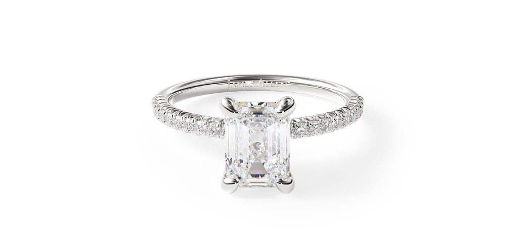 14K White Gold Petite Pave Engagement Ring (Flush Fit)