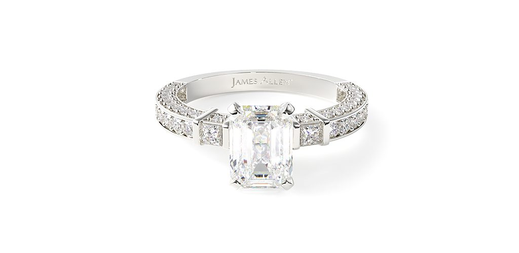Three-Sided Pavé ring