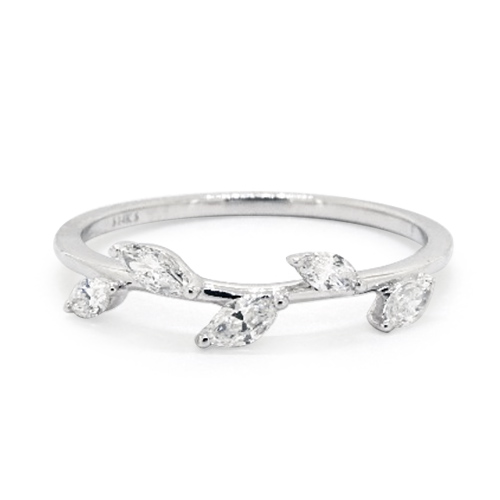 14K White Gold Leaf Motif Diamond Ring