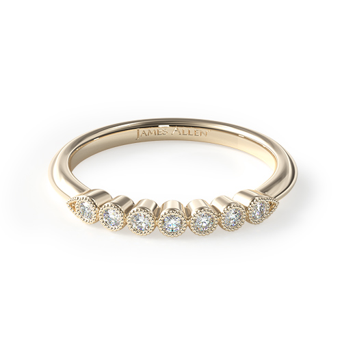 14K Yellow Gold Beaded Bezel Diamond Ring