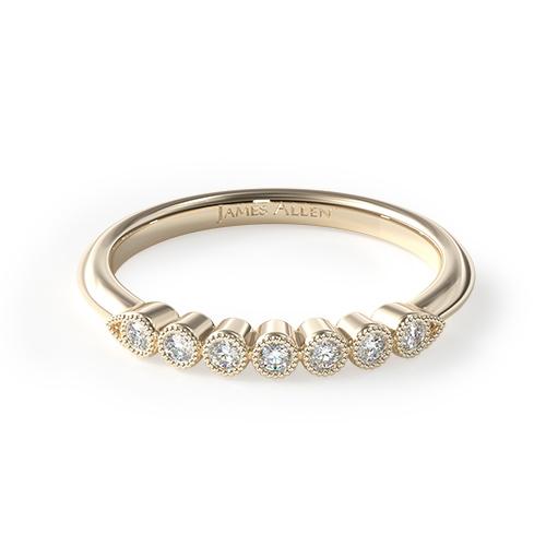 14K Yellow Gold Beaded Bezel Diamond Ring