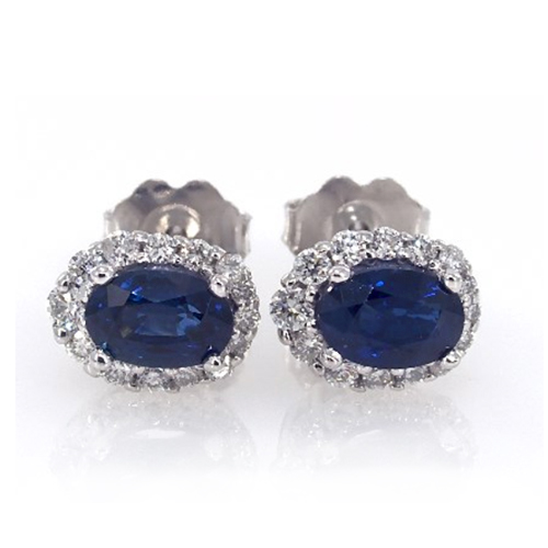 14K White Gold Blue Sapphire And Diamond Falling Edge Pave Halo Earrings