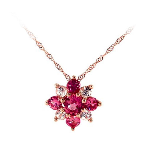 14K Rose Gold Pink And White Sapphire Flower Cluster Pendant