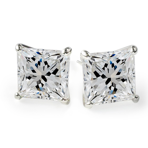 18K White Gold Princess Cut Diamond Stud Earrings