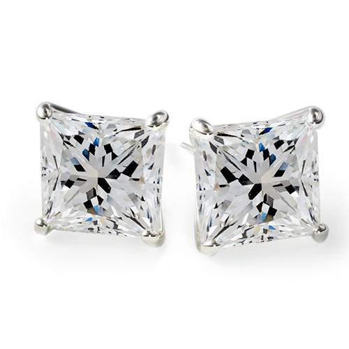 18K White Gold Princess Cut Diamond Stud Earrings