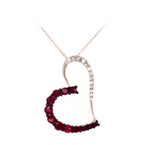 Diamond & Ruby Heart Pendant