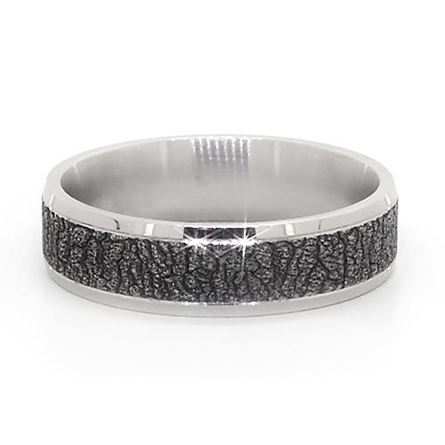 14K White Gold Blackened Bark Pattern Comfort Fit Ring