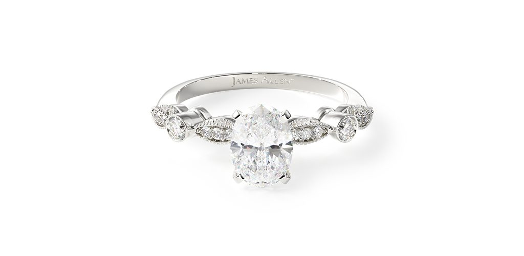14K White Gold Antique Bezel And Pave Set Engagement Ring