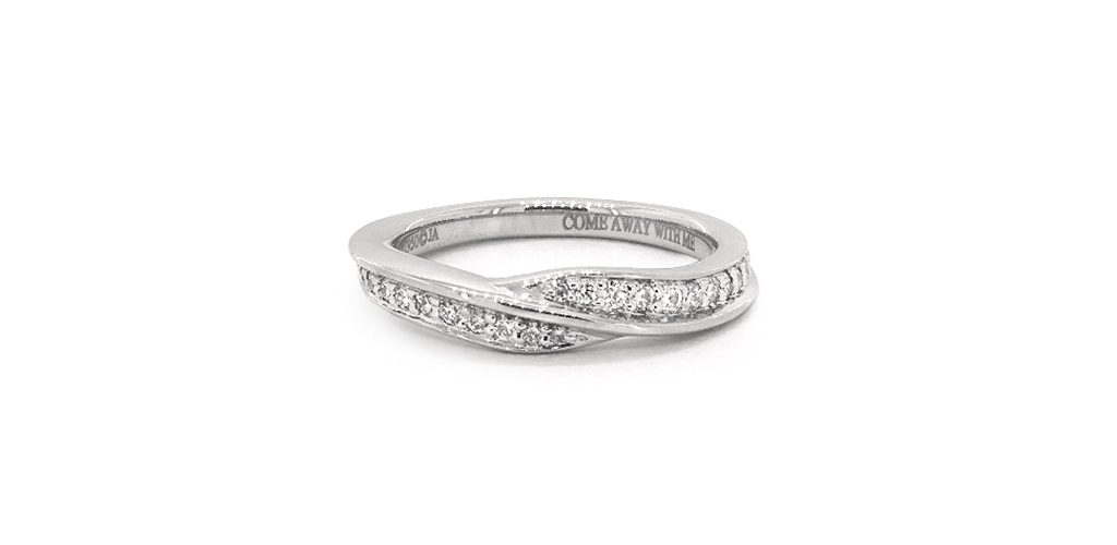 Platinum Round Shaped Diamond Wedding Ring