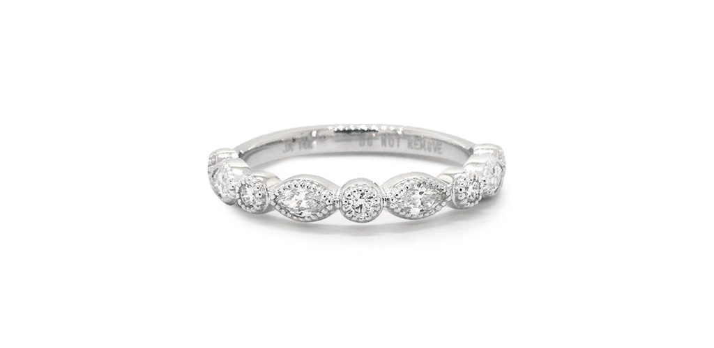 14K White Gold Round And Marquise Diamond Wedding Ring