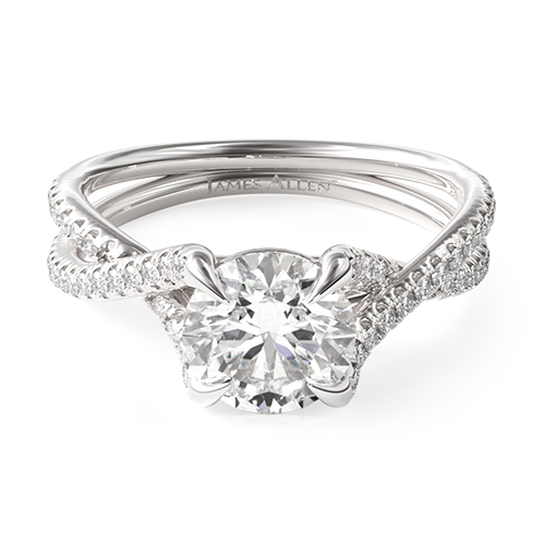 Twin Pavé Crossover Engagement Ring