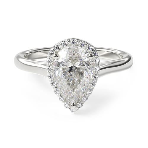 Pear-Cut Halo Engagement Ring