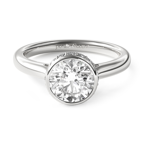 14K White Gold Pave Crown Bezel Engagement Ring