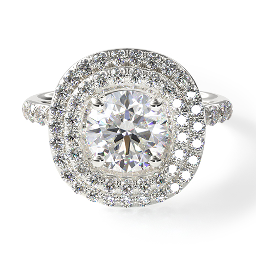 Double Halo Pavé Engagement Ring
