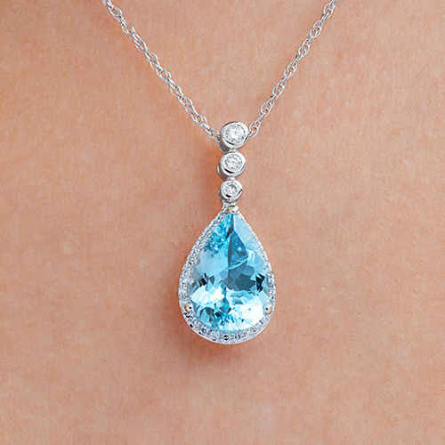 Aquamarine Pear-Cut Necklace