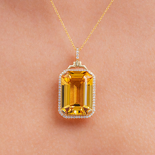 Emerald-Cut Citrine Necklace