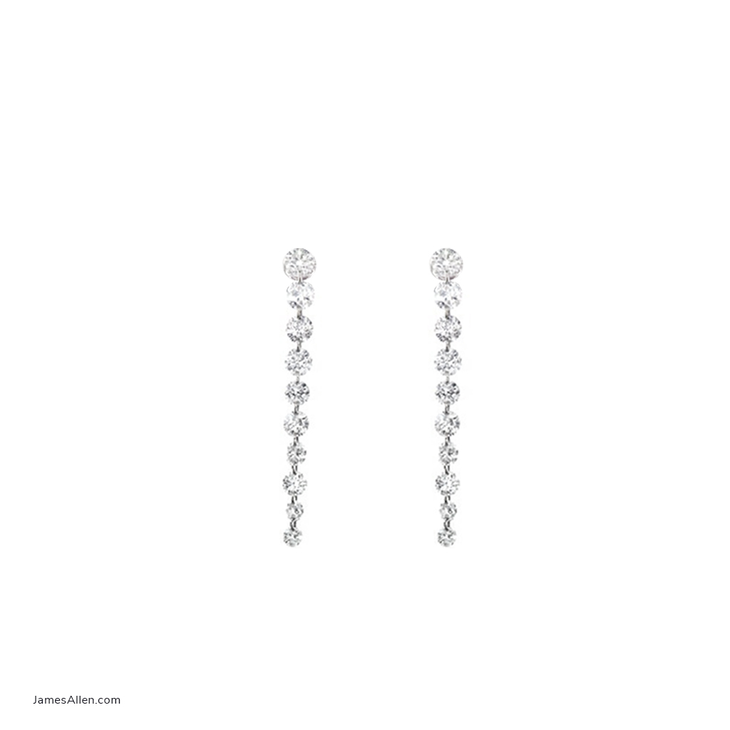 14K White Gold Graduated Pierced Diamond Dangling Earrings By Brevani