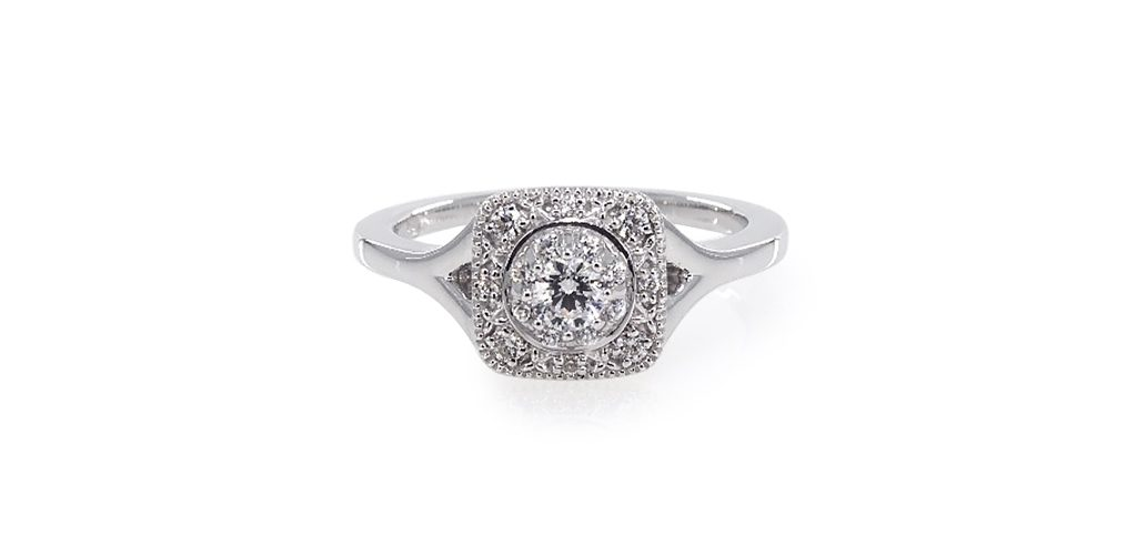 White Gold Cushion Halo Split Shank Engagement Ring