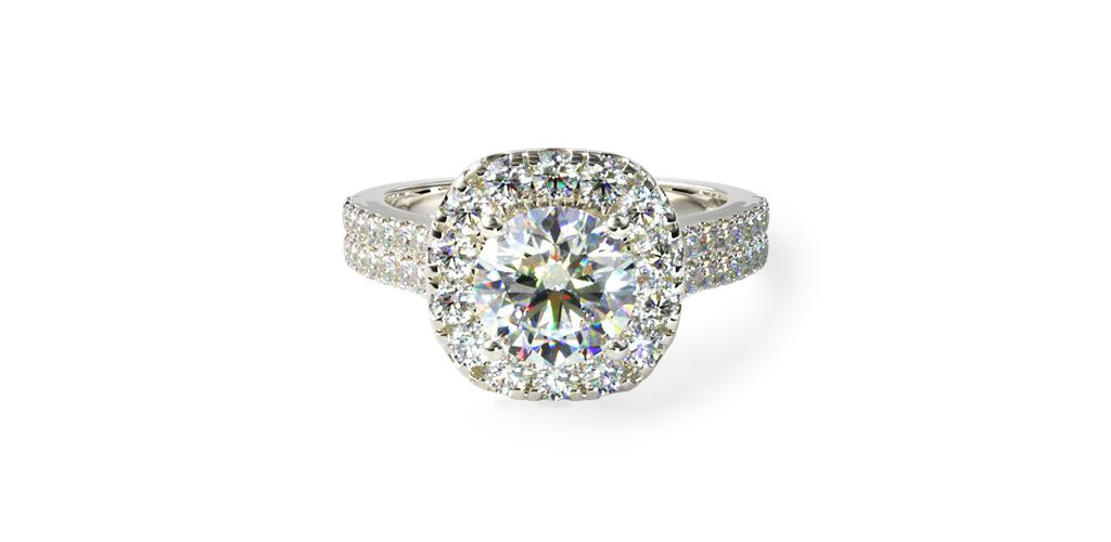14K White Gold Double Shank Halo Diamond Engagement Ring