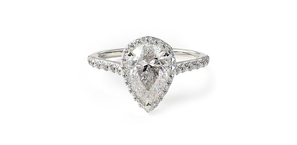 18K White Gold Pave Halo And Shank Diamond Engagement Ring