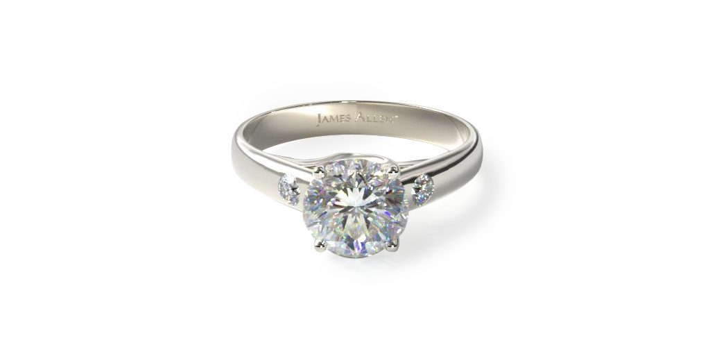 14K White Gold Cross Prong Diamond Accent Solitaire Ring