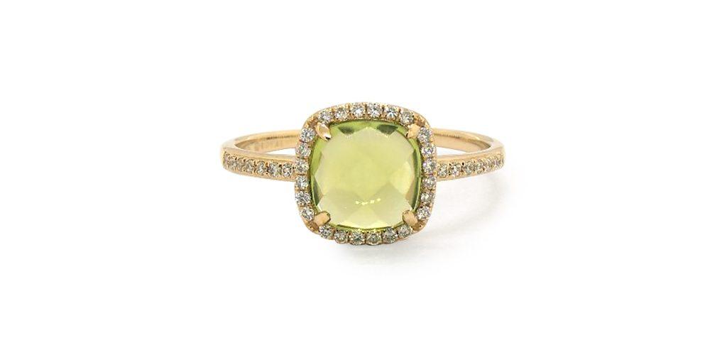14k Yellow Gold Cushion Halo Peridot And Diamond Ring