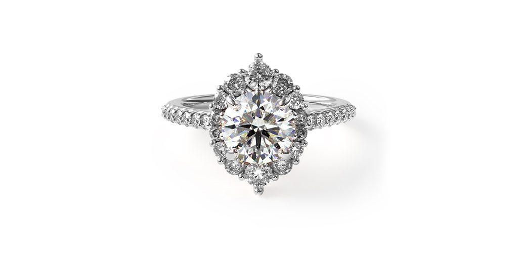 14K White Gold Graduated Halo Diamond Engagement Ring