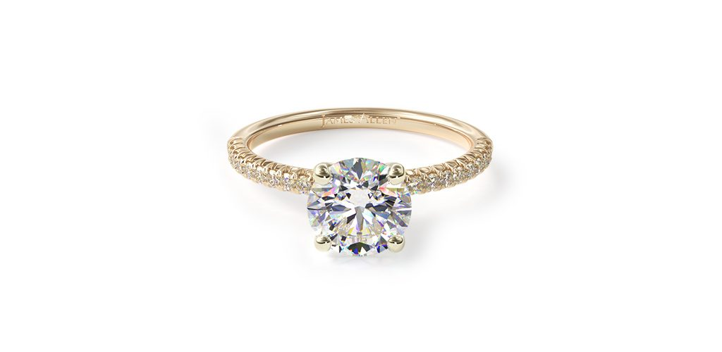 14K Yellow Gold Petite Pave Engagement Ring