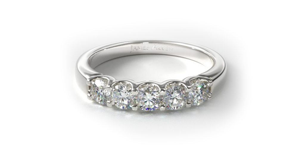 white gold five stone shared prong diamond ring