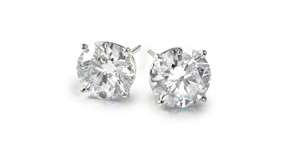 18K White Gold Four Prong Stud Earrings