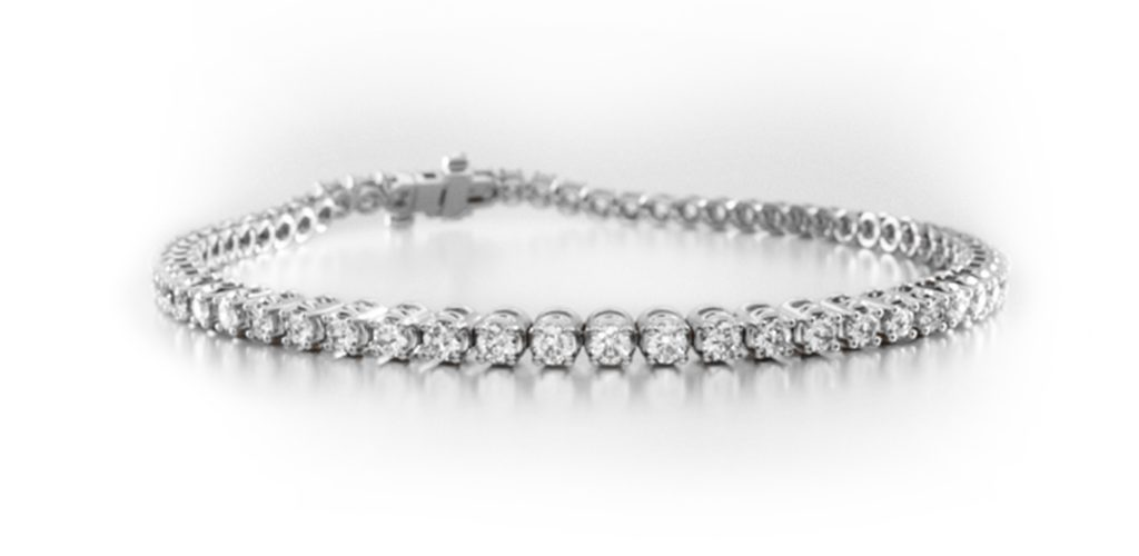 14K White Gold Four Prong Diamond Tennis Bracelet