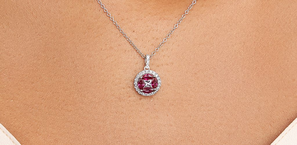 14K White Gold Marquise Ruby And Diamond Pendant