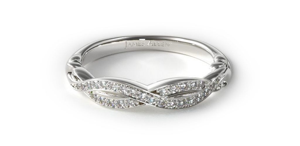 14K White Gold Pave Crossover Wedding Band