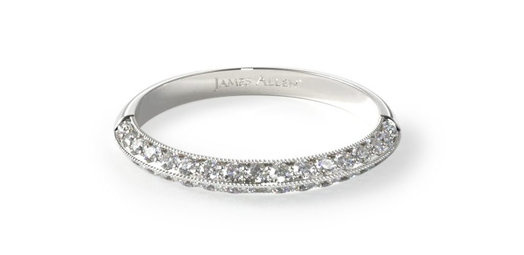 14K White Gold Pave Knife Edge Lotus Band