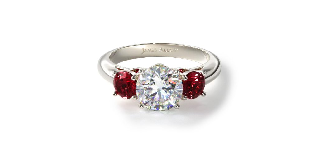 14K White Gold Three Stone Round Ruby Engagement Ring