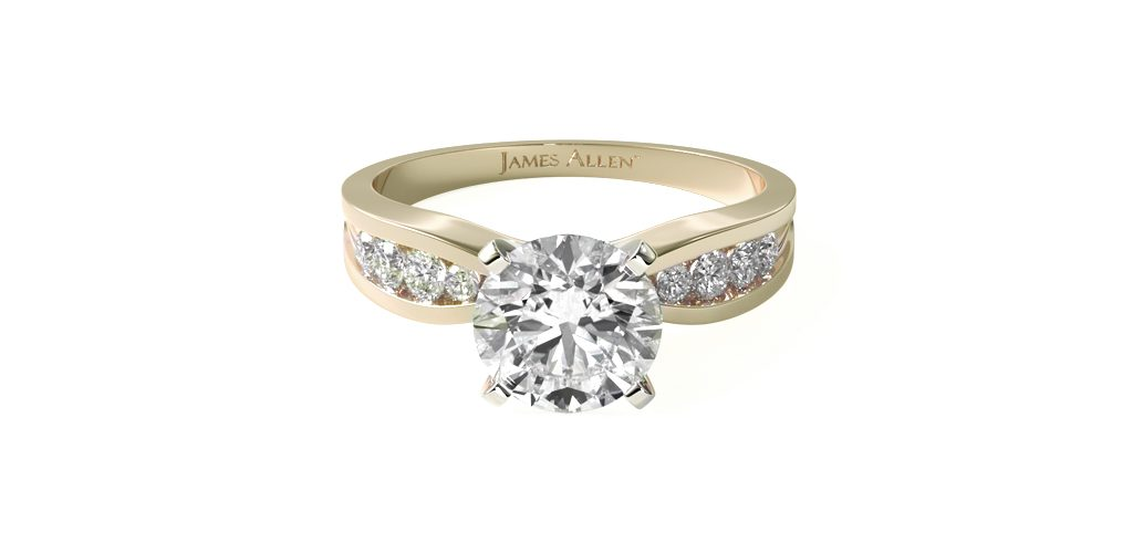 14K Yellow Gold Bow-Tie Channel Set Diamond Engagement Ring