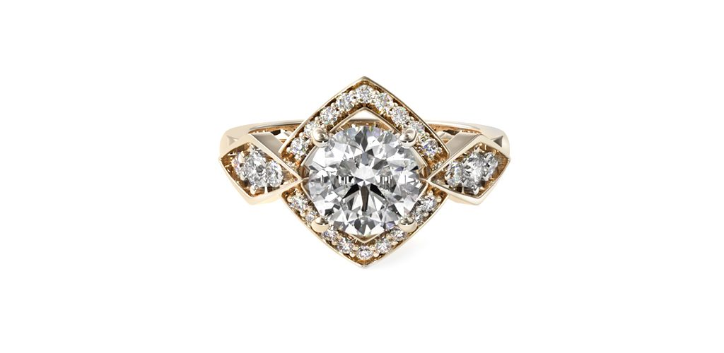 14K Yellow Gold Art Deco Geometric Diamond Engagement Ring