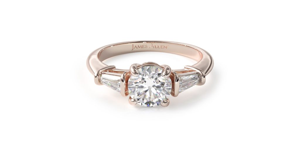 14K Rose Gold Tapered Baguette Diamond Engagement Ring