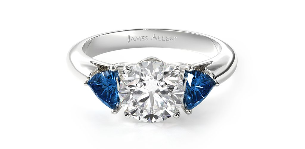 2020 engagement ring trends three-stone blue sapphire