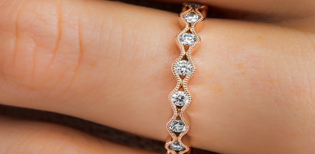 Rose Gold Waving Milgrain Bezel Diamond Ring - fine jewelry trends
