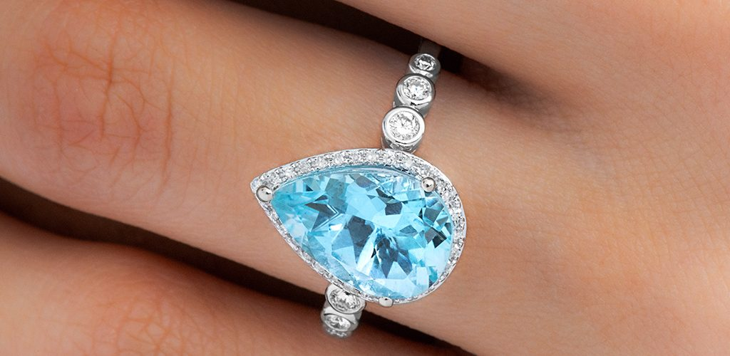 White Gold Graduated Bezel Aquamarine Ring - fine jewelry trends