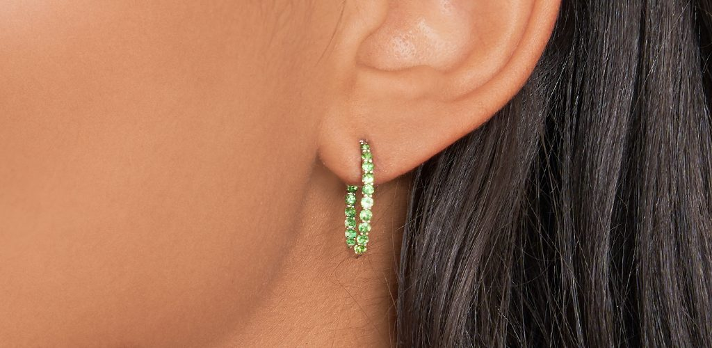 White Gold Tsavorite Trellis Oval Hoops - fine jewelry trends