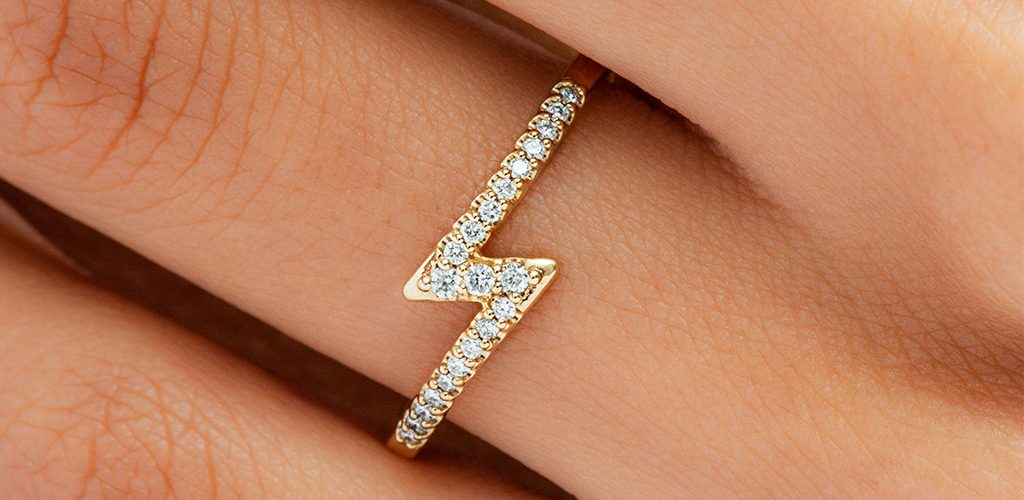 Yellow Gold Lightning Bolt Diamond Ring - fine jewelry trends