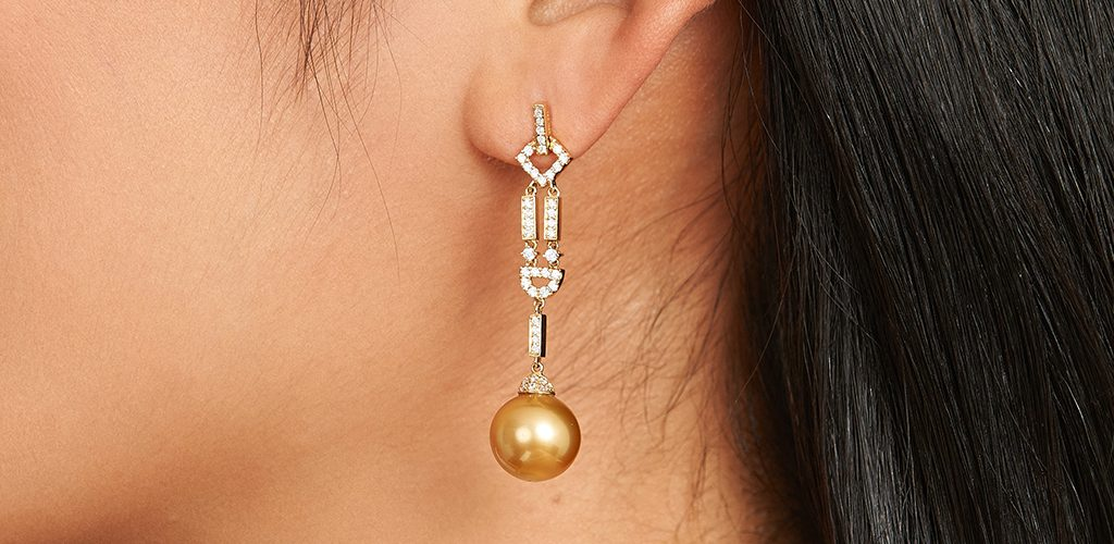 Yellow Gold Sea Pearl Art Deco Drop Earrings - fine jewelry trends