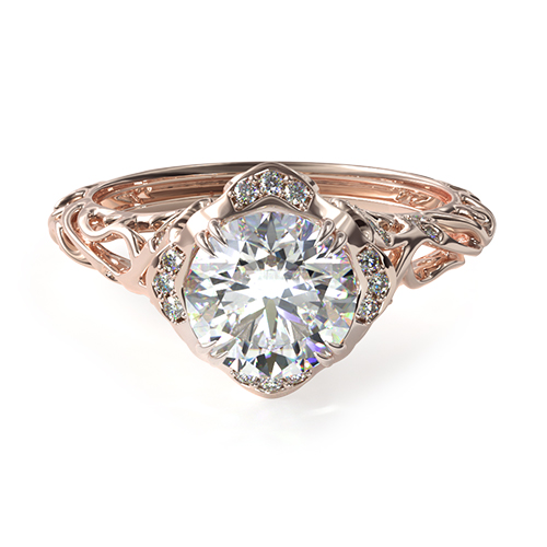 14K Rose Gold Diamond Filigree Engagement Ring
